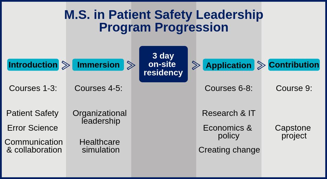 4 part program progression: intro, immersion, application, contribution
